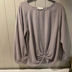 Umgee Tie Front Gray Blouse